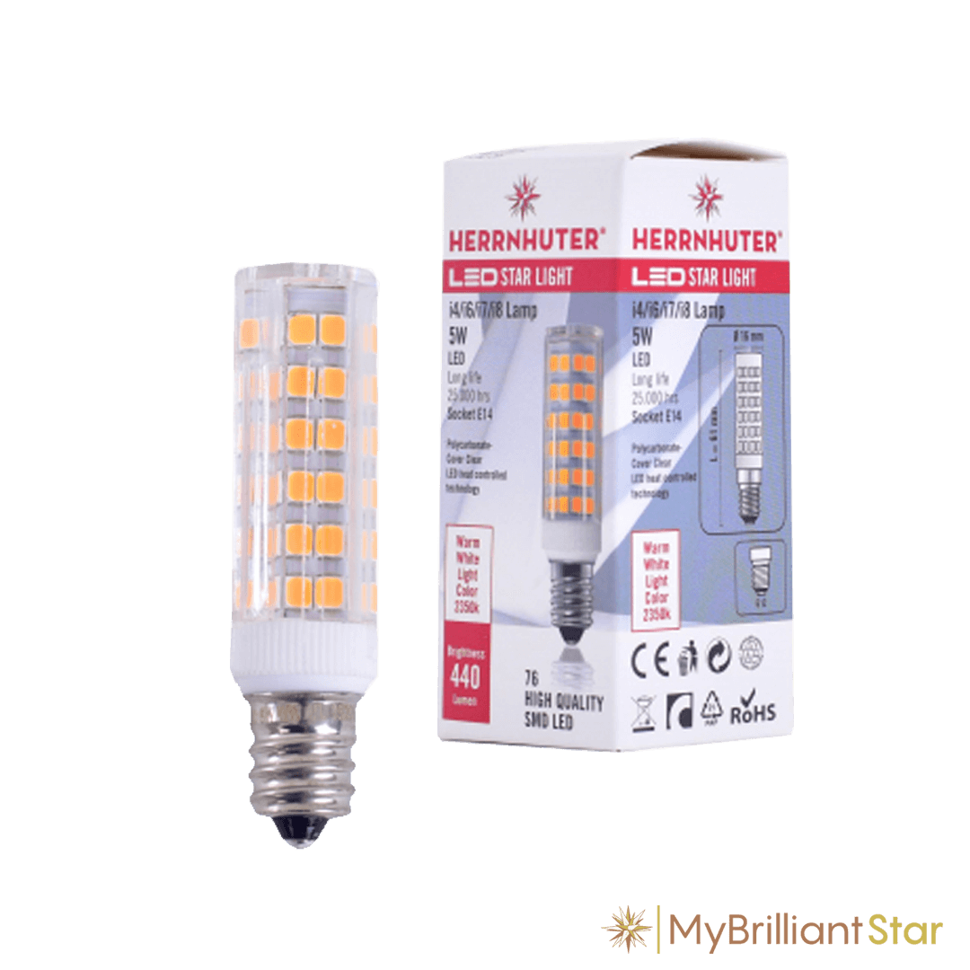 LED, E14, 5W spare bulb for Paper Star ~ 40 - 80 cm / 16-32 inch ø