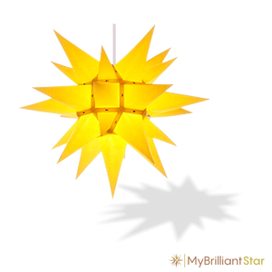 Original Herrnhut paper star, yellow, ~ 40 cm / 16 inch ø