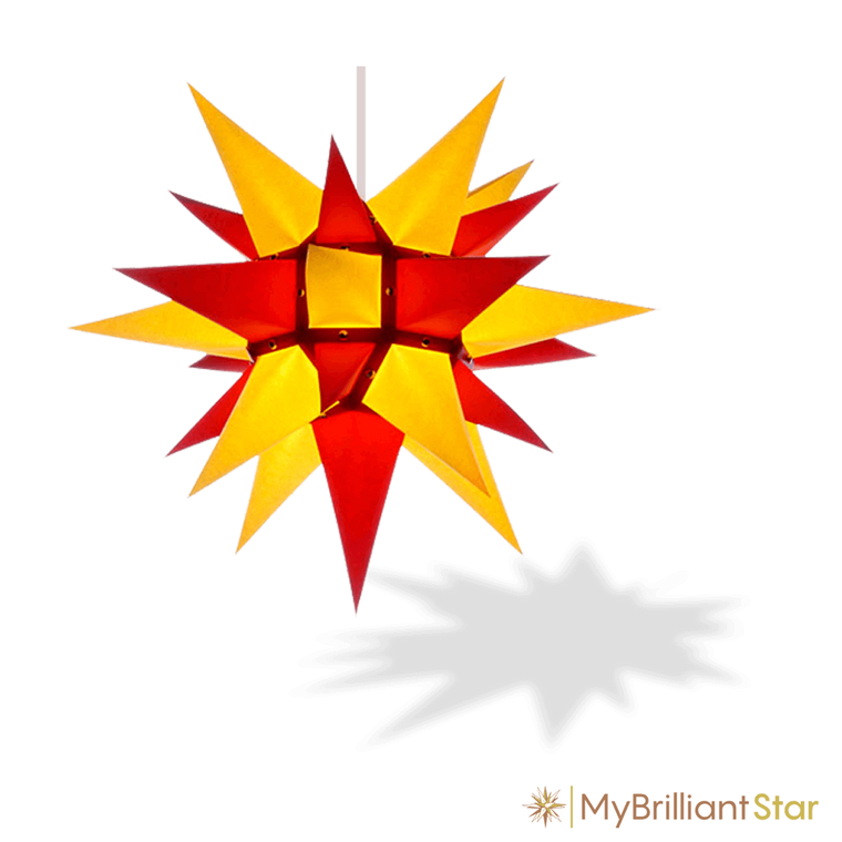 Original Herrnhut paper star, yellow / red, ~ 40 cm / 16 inch ø