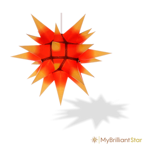 Original Herrnhut paper star, yellow / red center, ~ 40 cm / 16 inch ø
