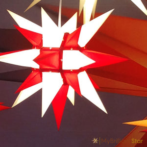 Original Herrnhut paper star, white / red, ~ 40 cm / 16 inch ø