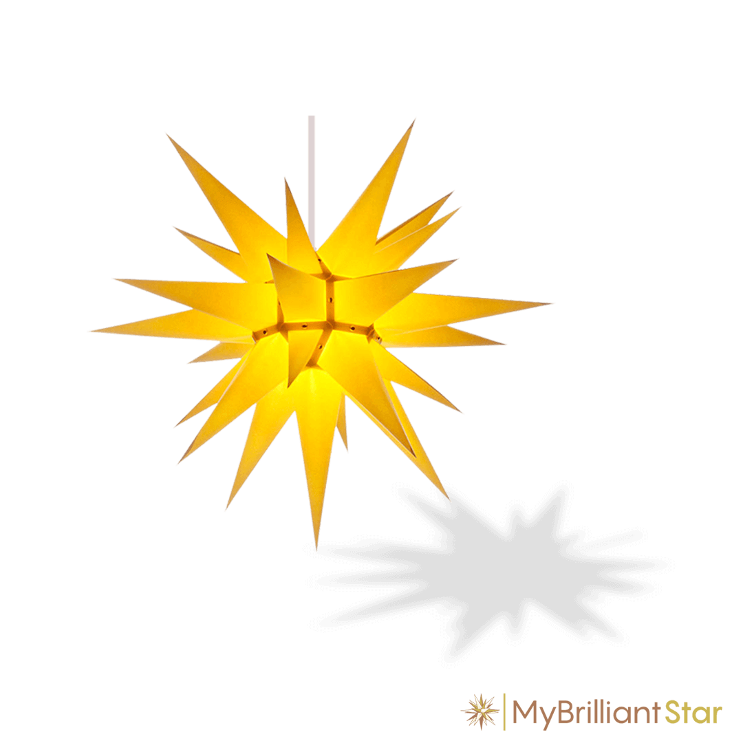 Original Herrnhut paper star, yellow, ~ 60 cm / 24 inch ø