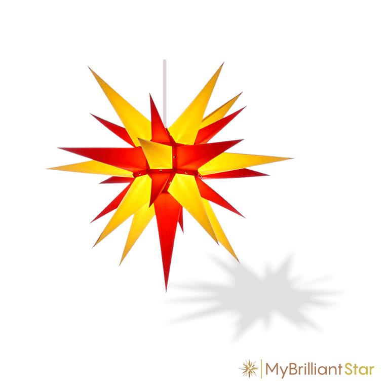 Original Herrnhut paper star, yellow / red, ~ 60 cm / 24 inch ø