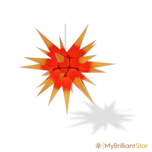Original Herrnhut paper star, yellow / red center, ~ 60 cm / 24 inch ø