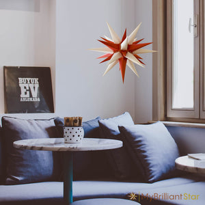 Original Herrnhut paper star, white / red, ~ 60 cm / 24 inch ø