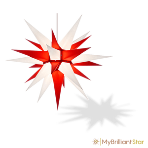 Original Herrnhut paper star, white / red, ~ 70 cm / 27 inch ø