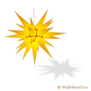 Original Herrnhut paper star, yellow, ~ 70 cm / 27 inch ø