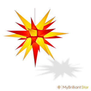 Original Herrnhut paper star, yellow / red, ~ 70 cm / 27 inch ø