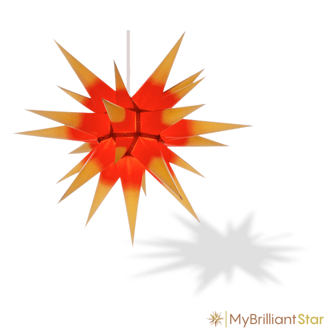Original Herrnhut paper star, yellow / red center, ~ 70 cm / 27 inch ø