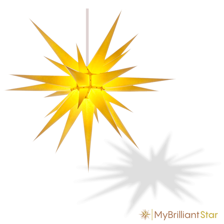 Original Herrnhut paper star, yellow, ~ 80 cm / 32 inch ø