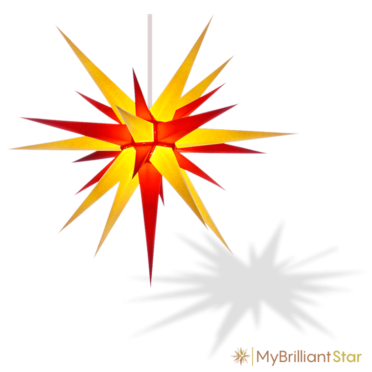Original Herrnhut paper star, yellow / red, ~ 80 cm / 32 inch
