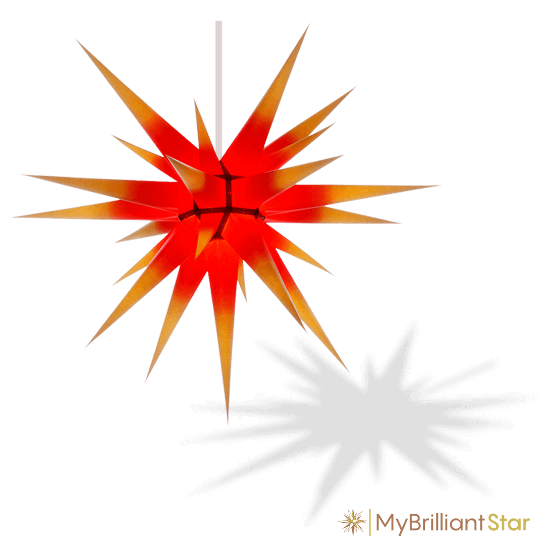 Original Herrnhut paper star, yellow / red center, ~ 80 cm / 32 inch ø