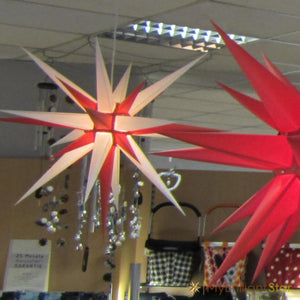 Original Herrnhut paper star, white / red, ~ 80 cm / 32 inch ø