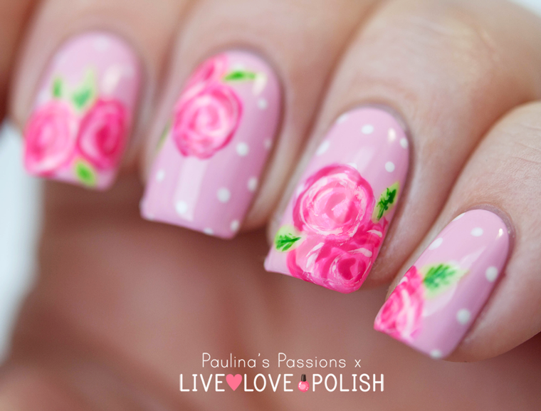 Pink Rose Nail Art with Paulina's Passions – Live Love Polish