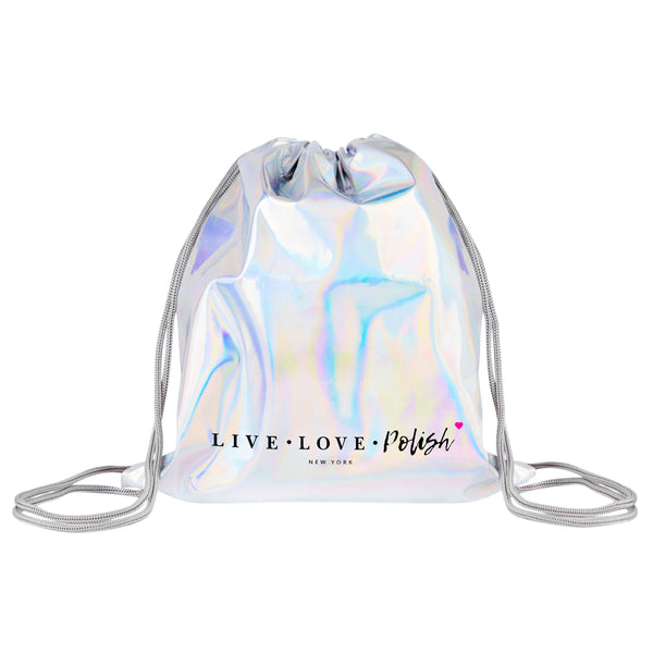Live Love Polish Holographic Drawstring Bag
