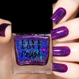 purple linear holographic nail polish