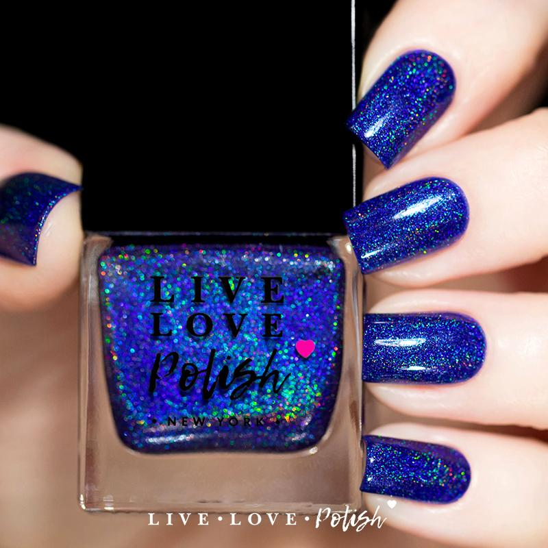 blue linear holographic nail polish