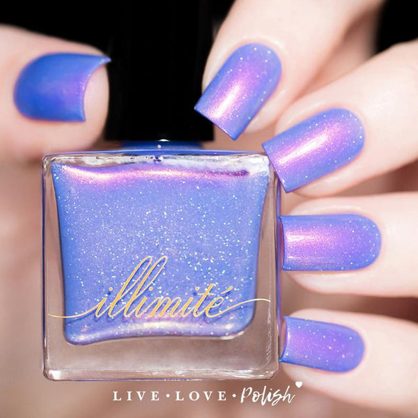 periwinkle blue nail polish with pink shimmer