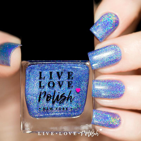 light blue linear holographic nail polish
