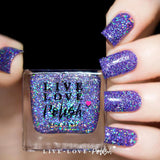 lavender jelly nail polish with silver holographic glitter