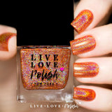 orange linear holographic nail polish