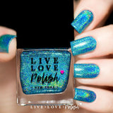 teal linear holographic nail polish