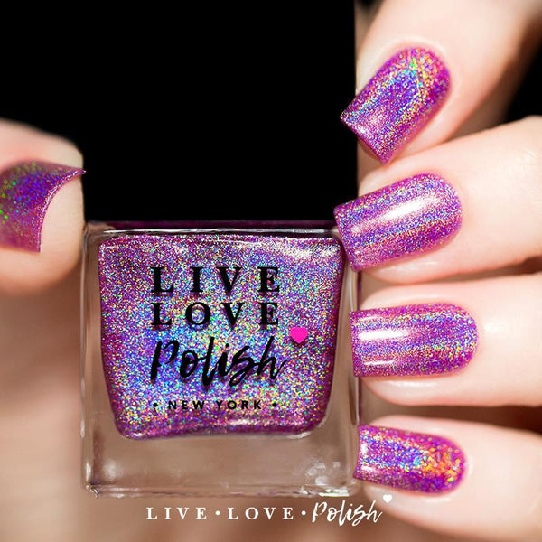 medium pink linear holographic nail polish