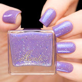 lavender nail polish with blue shimmer