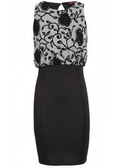 Floral Lurex Blouson Bodycon Dress