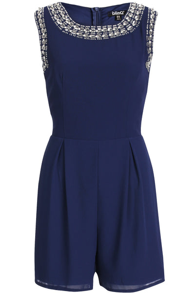 Navy Embellished Chiffon Playsuit
