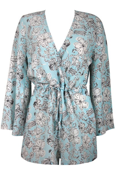 Floral Printed Bell Sleeves Playsuit