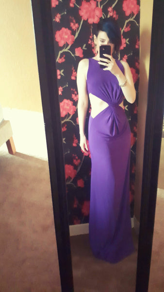 Celebrity Twist Cut Out Front Purple Maxi Dress