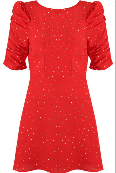 Polka Dot Scallop Shift Dress