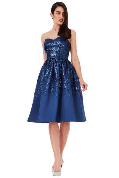 Sweetheart Neckline Sequin Midi Dress