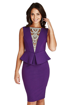 Embellished Neckline Midi Dress - Purple