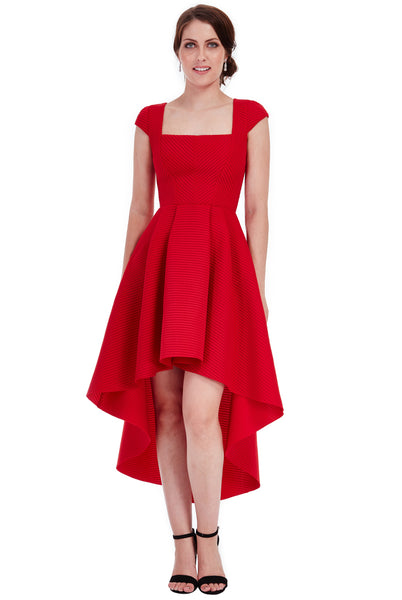 Square Neckline Asymmetric Midi Dress