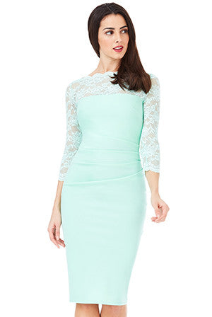 Midi Dress with Scalloped Lace Neckline - Mint