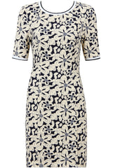 Navy with Beige Flower Zip Up Shift Dress