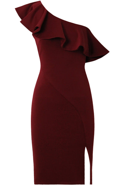 One Shoulder Frill Cocktail Dress