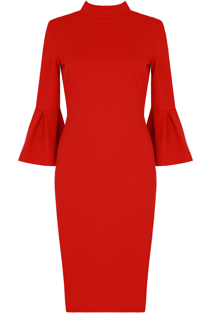 Open Back Bell Sleeve Midi - Red