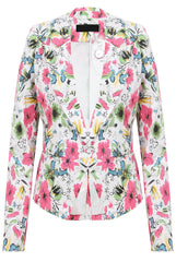 Pink Floral Print Button Up Blazer