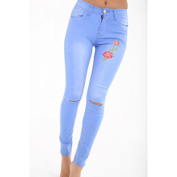 Front & Back Floral Embroidered Jeans