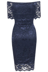 Celeb Inspired Lace Bardot Midi Dress