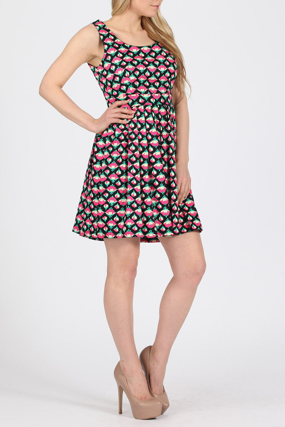 Floral Print Pleated Skater Dress
