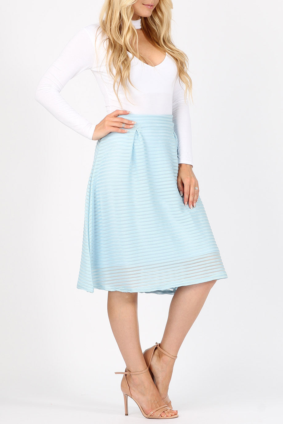 Stripe Mesh Midi Skirt - Blue