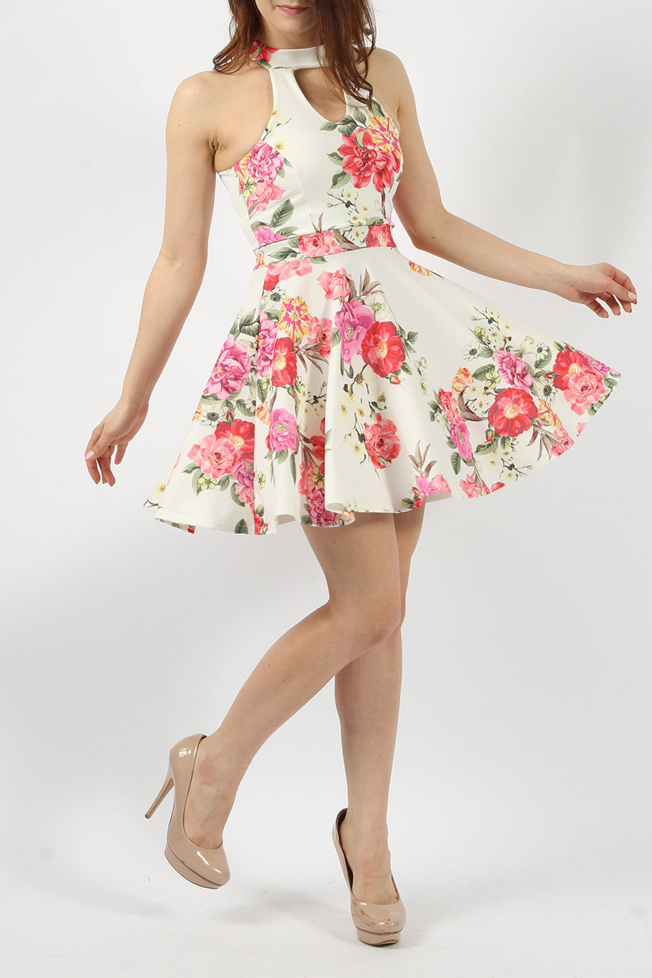 Printed Floral Choker Skater Dress - Ivory