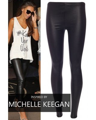 PLUS SIZE Leather Look Leggings