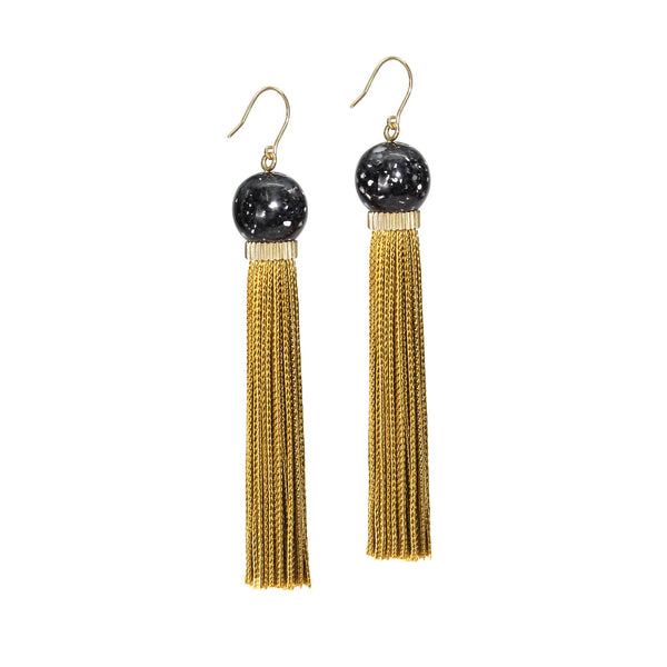 Tremble Tassel Earring - Black Granite