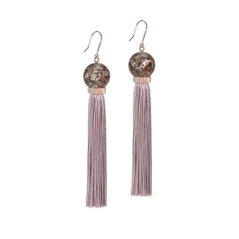 Lilac Glitter Tassel Earrings