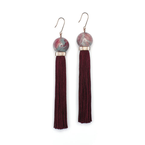 Marbled Tassel Earrings